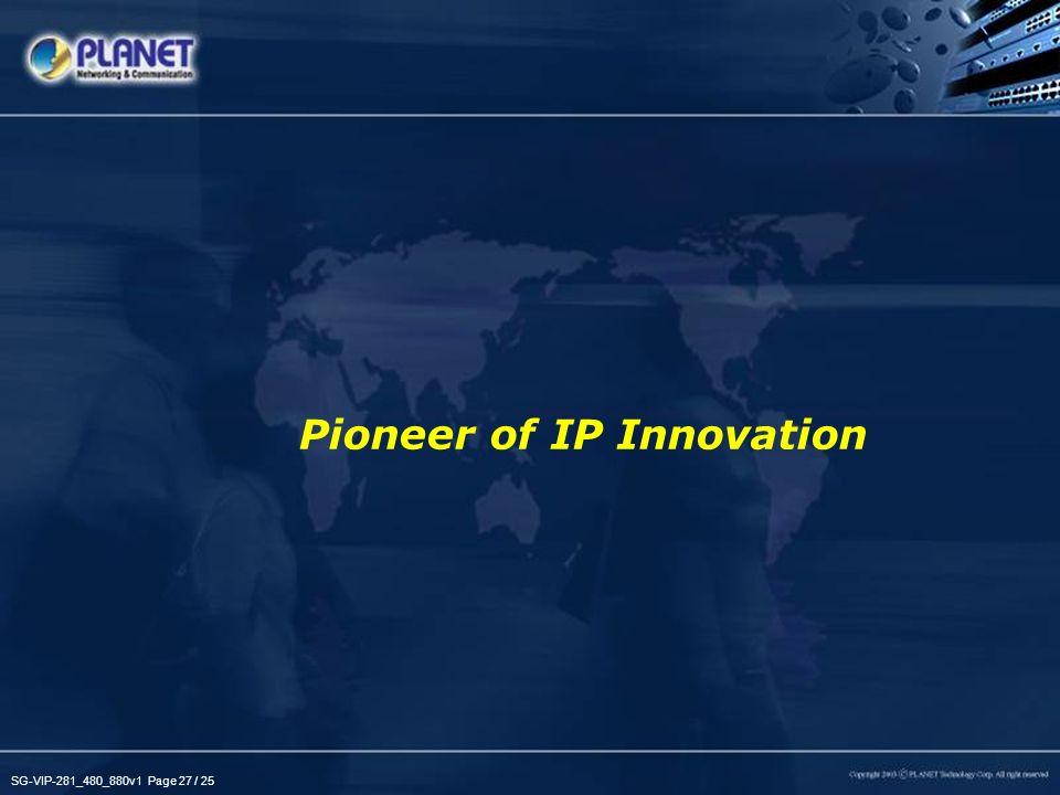 SG-VIP-281_480_880v1 Page 27 / 25 Pioneer of IP Innovation