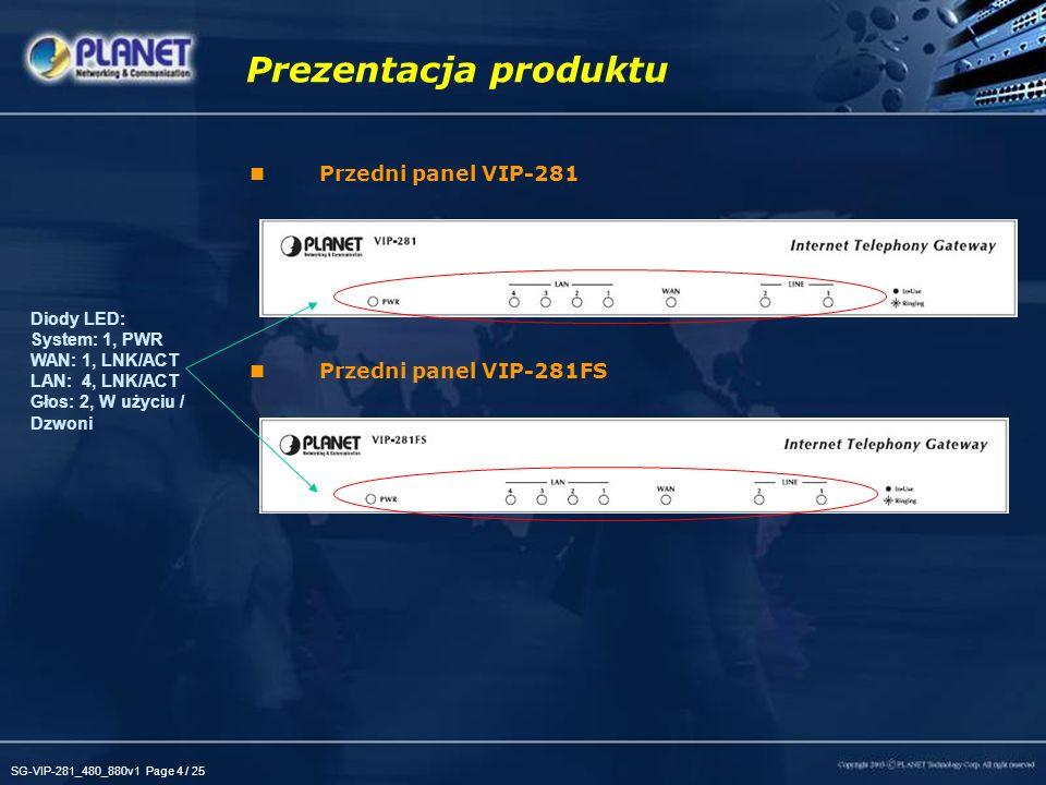 SG-VIP-281_480_880v1 Page 4 / 25 Przedni panel VIP-281 Przedni panel VIP-281FS Prezentacja produktu Diody LED: System: 1, PWR WAN: 1, LNK/ACT LAN: 4,