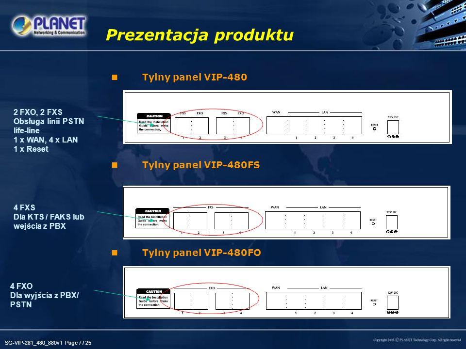 SG-VIP-281_480_880v1 Page 7 / 25 Tylny panel VIP-480 Tylny panel VIP-480FS Tylny panel VIP-480FO Prezentacja produktu 2 FXO, 2 FXS Obsługa linii PSTN