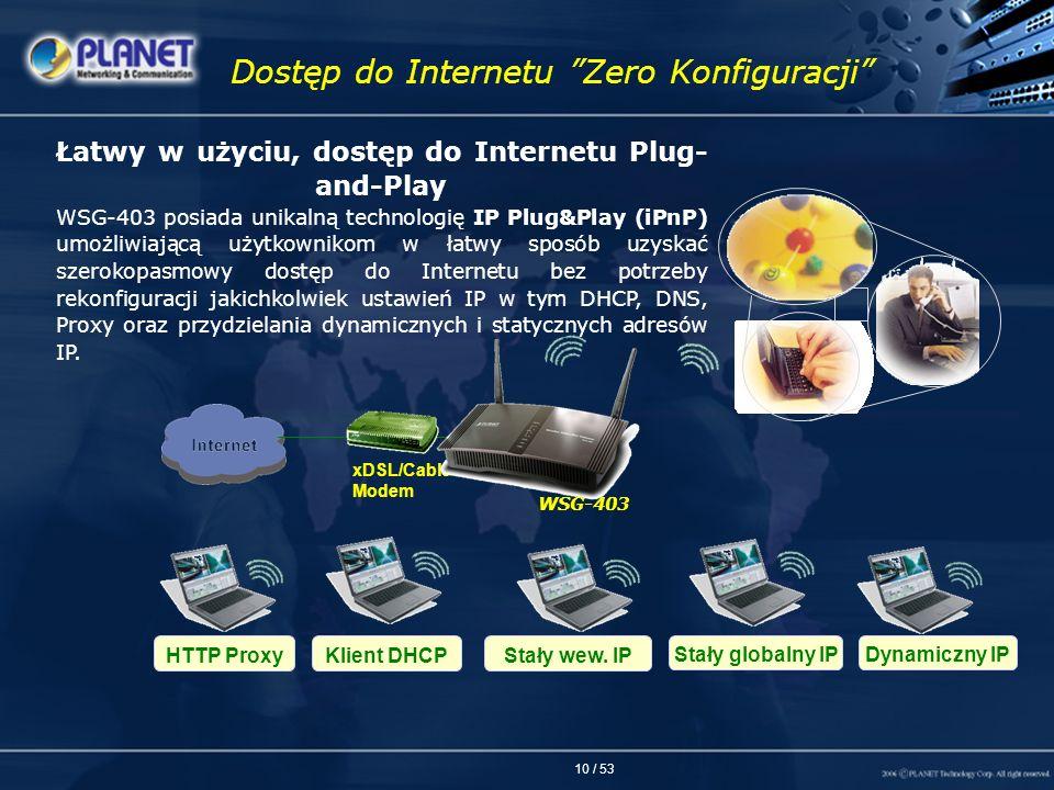 10 / 53 Dostęp do Internetu Zero Konfiguracji Łatwy w użyciu, dostęp do Internetu Plug- and-Play WSG-403 posiada unikalną technologię IP Plug&Play (iP
