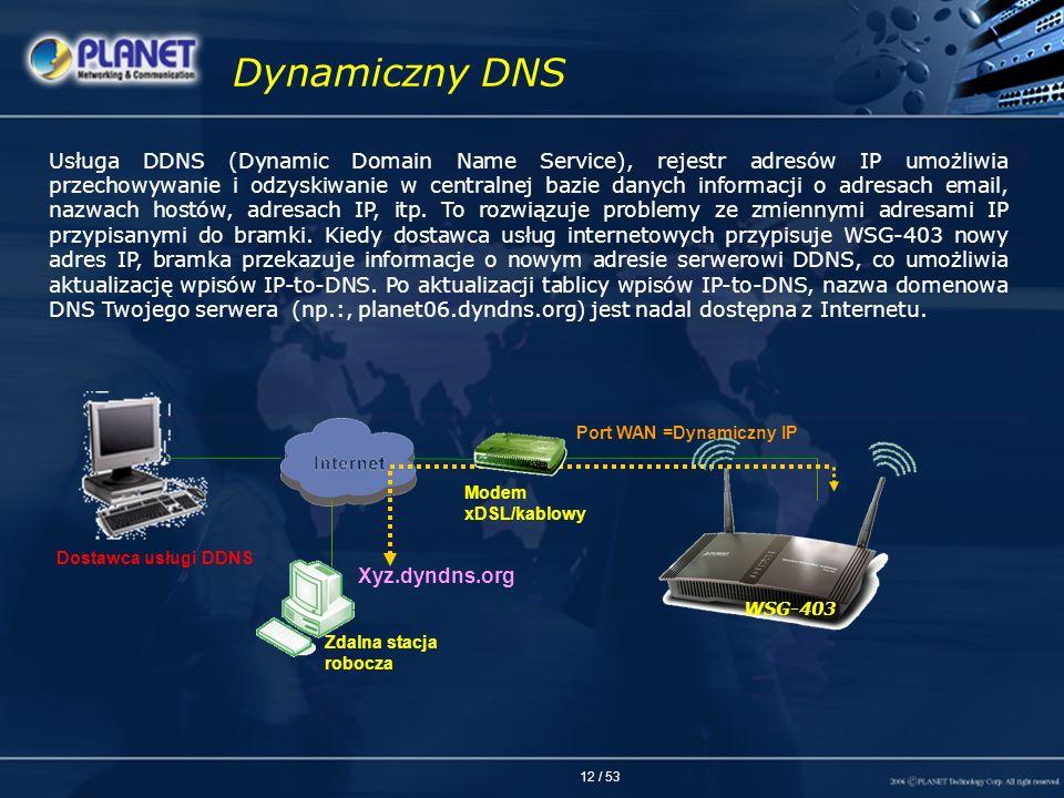 12 / 53 Usługa DDNS (Dynamic Domain Name Service), rejestr adresów IP umożliwia przechowywanie i odzyskiwanie w centralnej bazie danych informacji o a