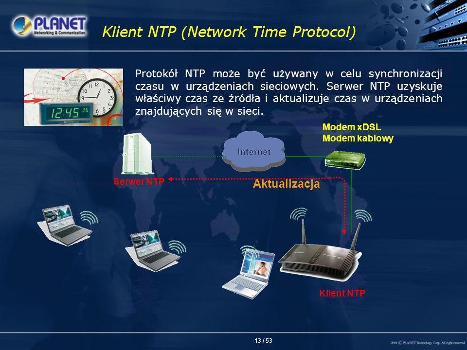 13 / 53 Klient NTP (Network Time Protocol) Protokół NTP może być używany w celu synchronizacji czasu w urządzeniach sieciowych. Serwer NTP uzyskuje wł
