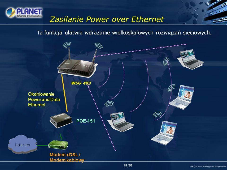 15 / 53 Zasilanie Power over Ethernet POE-151 Modem xDSL / Modem kablowy Ta funkcja ułatwia wdrażanie wielkoskalowych rozwiązań sieciowych. Okablowani