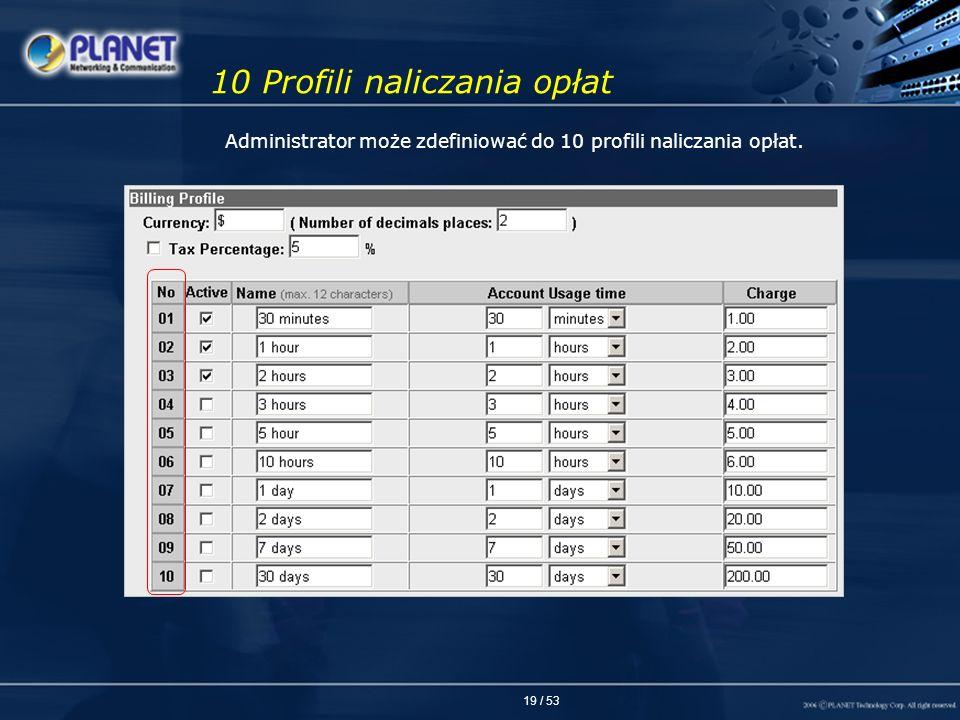 19 / 53 10 Profili naliczania opłat Administrator może zdefiniować do 10 profili naliczania opłat.