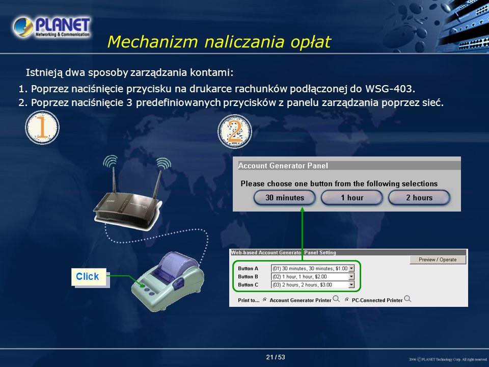 21 / 53 Mechanizm naliczania opłat 1. Poprzez naciśnięcie przycisku na drukarce rachunków podłączonej do WSG-403. 2. Poprzez naciśnięcie 3 predefiniow