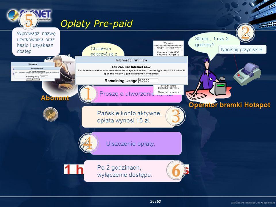 25 / 53 Opłaty Pre-paid Chciałbym połączyć się z Internetem Proszę o utworzenie konta. Pańskie konto aktywne, opłata wynosi 15 zł. Uiszczenie opłaty.