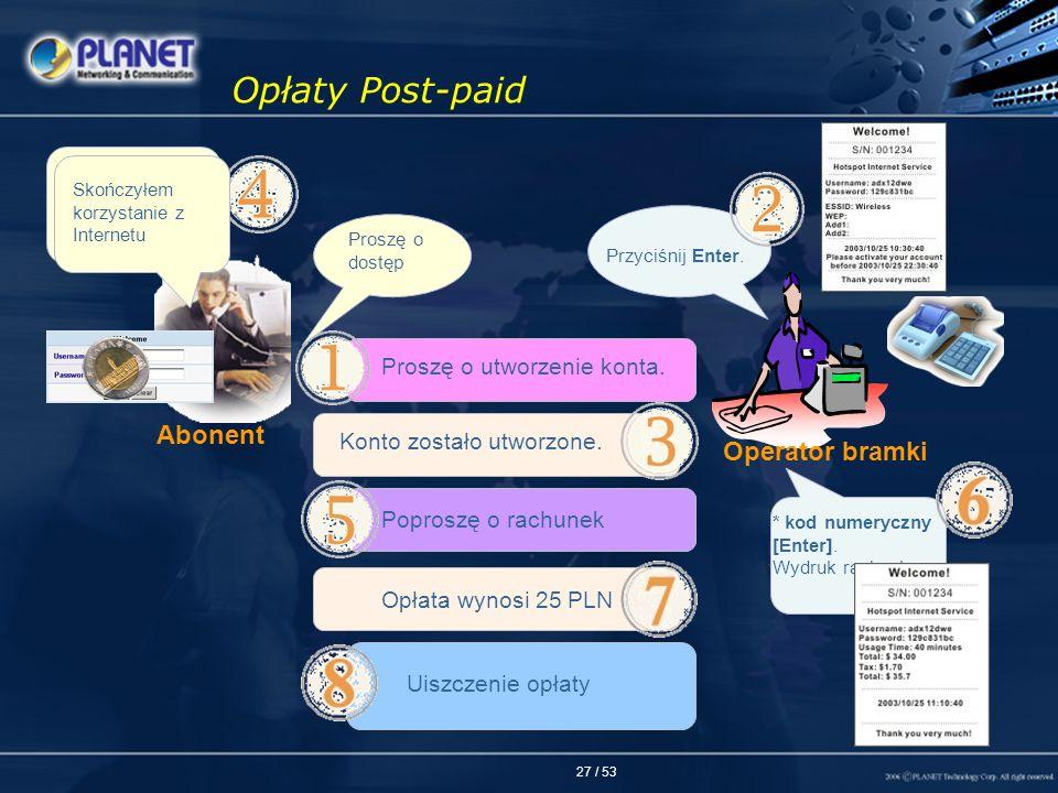 27 / 53 Opłaty Post-paid Proszę o dostęp Proszę o utworzenie konta. Konto zostało utworzone. Wprowadź nazwę użytkownika oraz hasło i uzyskasz dostęp P