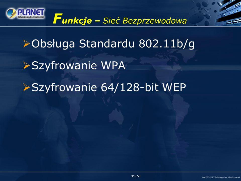 31 / 53 F unkcje – Sieć Bezprzewodowa Obsługa Standardu 802.11b/g Szyfrowanie WPA Szyfrowanie 64/128-bit WEP