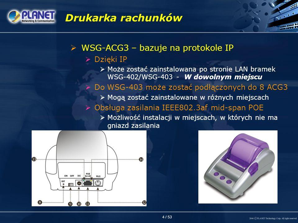 4 / 53 Drukarka rachunków WSG-ACG3 – bazuje na protokole IP Dzięki IP Może zostać zainstalowana po stronie LAN bramek WSG-402/WSG-403 - W dowolnym mie
