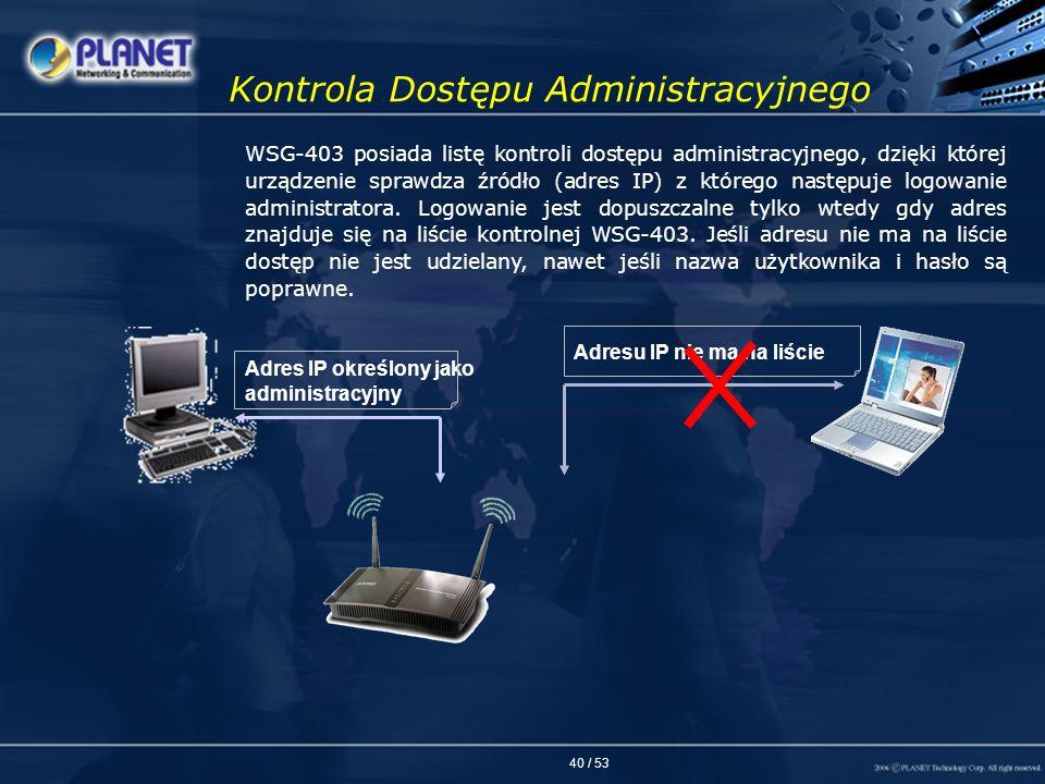 40 / 53 Kontrola Dostępu Administracyjnego WSG-403 posiada listę kontroli dostępu administracyjnego, dzięki której urządzenie sprawdza źródło (adres I