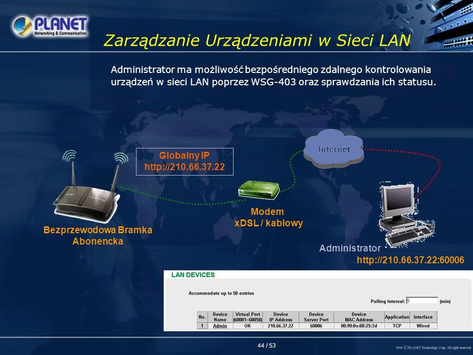 44 / 53 Zarządzanie Urządzeniami w Sieci LAN Administrator ma możliwość bezpośredniego zdalnego kontrolowania urządzeń w sieci LAN poprzez WSG-403 ora