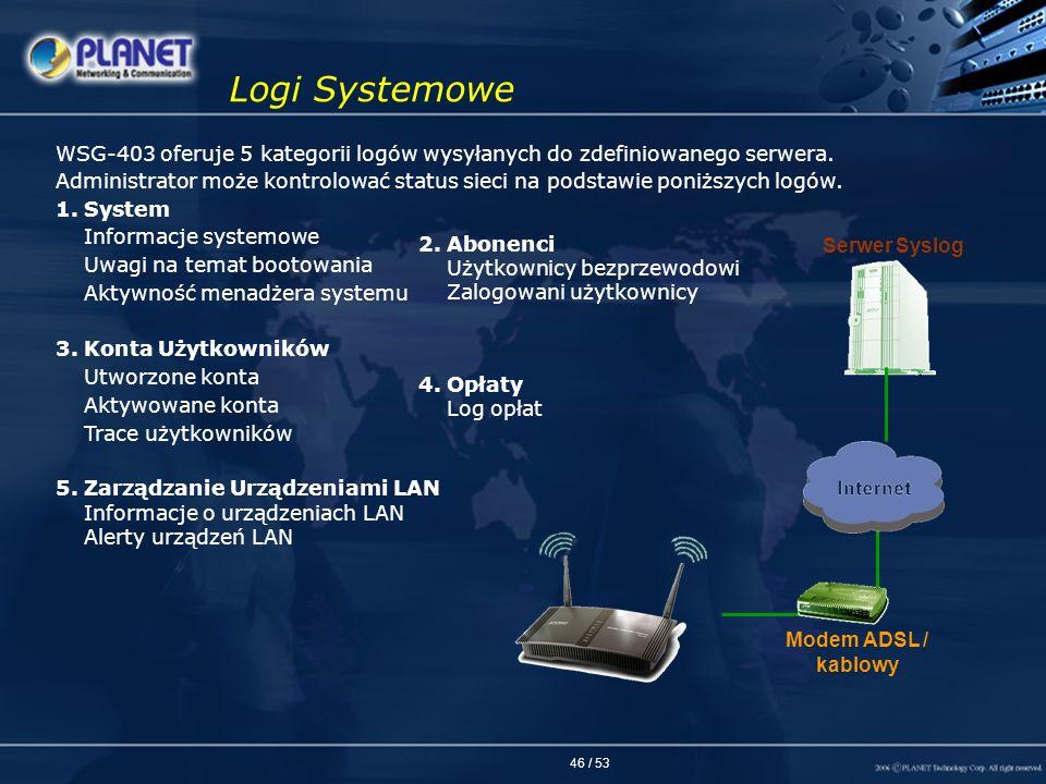 46 / 53 Logi Systemowe WSG-403 oferuje 5 kategorii logów wysyłanych do zdefiniowanego serwera. Administrator może kontrolować status sieci na podstawi