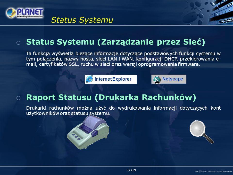 47 / 53 Status Systemu Status Systemu (Zarządzanie przez Sieć) Raport Statusu (Drukarka Rachunków) Ta funkcja wyświetla bieżące informacje dotyczące p