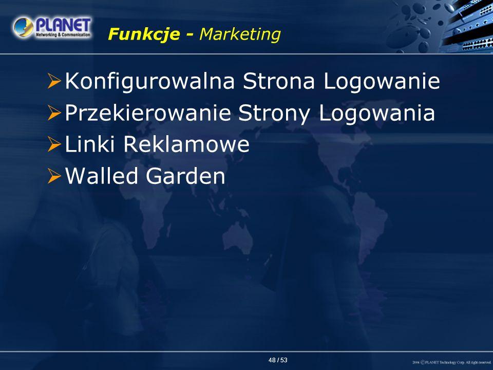 48 / 53 Funkcje - Marketing Konfigurowalna Strona Logowanie Przekierowanie Strony Logowania Linki Reklamowe Walled Garden