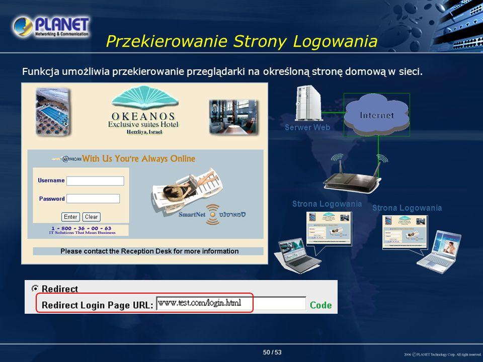 50 / 53 Przekierowanie Strony Logowania Strona Logowania Serwer Web Strona Logowania Funkcja umożliwia przekierowanie przeglądarki na określoną stronę