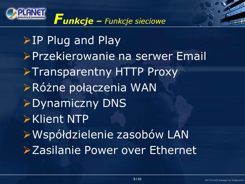 9 / 53 F unkcje – Funkcje sieciowe IP Plug and Play Przekierowanie na serwer Email Transparentny HTTP Proxy Różne połączenia WAN Dynamiczny DNS Klient