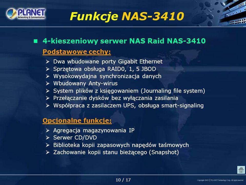 10 / 17 Funkcje NAS-3410 4-kieszeniowy serwer NAS Raid NAS-3410 Podstawowe cechy: Dwa wbudowane porty Gigabit Ethernet Sprzętowa obsługa RAID0, 1, 5 JBOD Wysokowydajna synchronizacja danych Wbudowany Anty-wirus System plików z księgowaniem (Journaling file system) Przełączanie dysków bez wyłączania zasilania Współpraca z zasilaczem UPS, obsługa smart-signaling Opcjonalne funkcje: Agregacja magazynowania IP Serwer CD/DVD Biblioteka kopii zapasowych napędów taśmowych Zachowanie kopii stanu bieżącego (Snapshot)