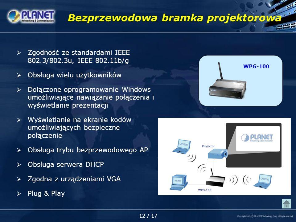 12 / 17 Bezprzewodowa bramka projektorowa Zgodność ze standardami IEEE 802.3/802.3u, IEEE 802.11b/g Obsługa wielu użytkowników Dołączone oprogramowanie Windows umożliwiające nawiązanie połączenia i wyświetlanie prezentacji Wyświetlanie na ekranie kodów umożliwiających bezpieczne połączenie Obsługa trybu bezprzewodowego AP Obsługa serwera DHCP Zgodna z urządzeniami VGA Plug & Play WPG-100