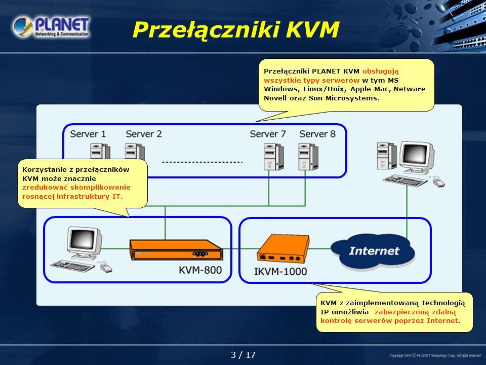 3 / 17 Przełączniki KVM KVM z zaimplementowaną technologią IP umożliwia zabezpieczoną zdalną kontrolę serwerów poprzez Internet.