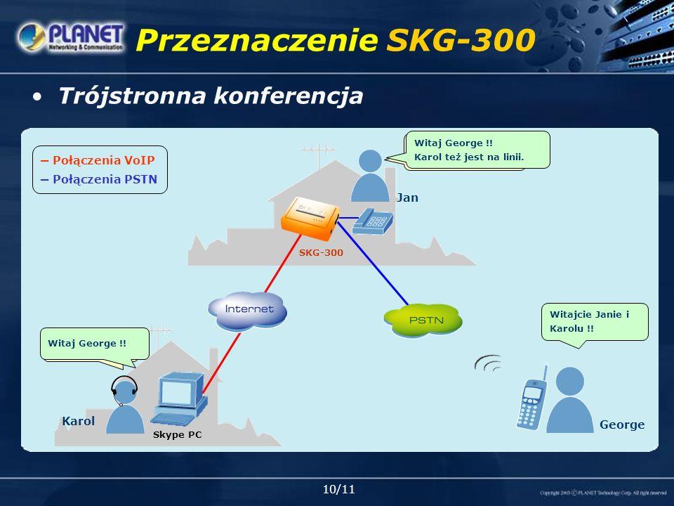 10/11 Przeznaczenie SKG-300 Połączenia VoIP Połączenia PSTN Trójstronna konferencja Skype PC SKG-300 Jan Karol George Witaj Karol, Poczekaj chwilę !.