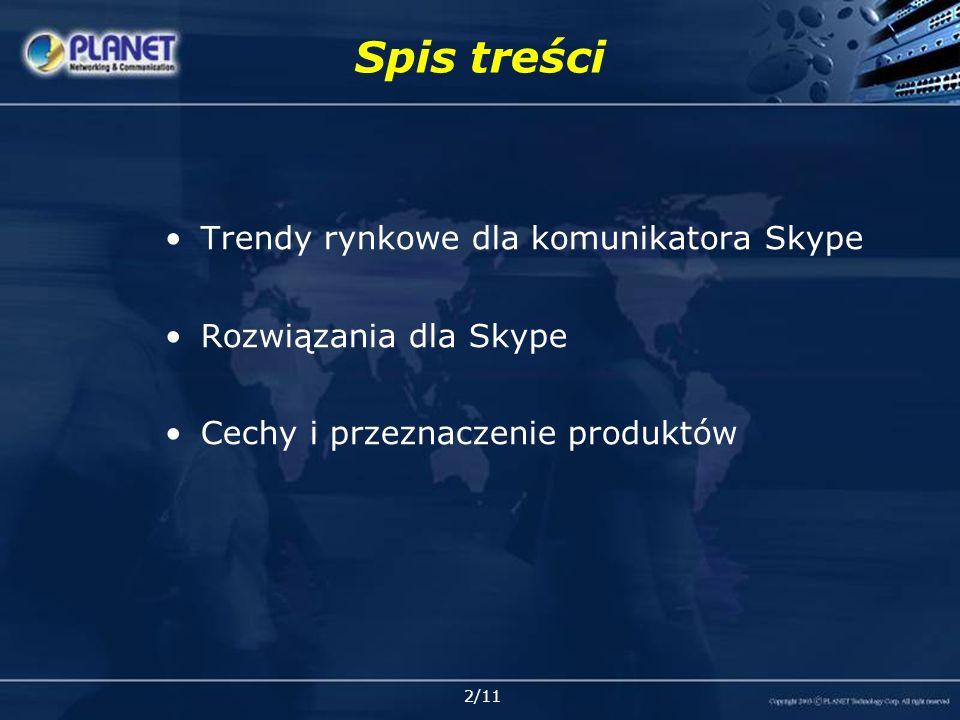 2/11 Spis treści Trendy rynkowe dla komunikatora Skype Rozwiązania dla Skype Cechy i przeznaczenie produktów