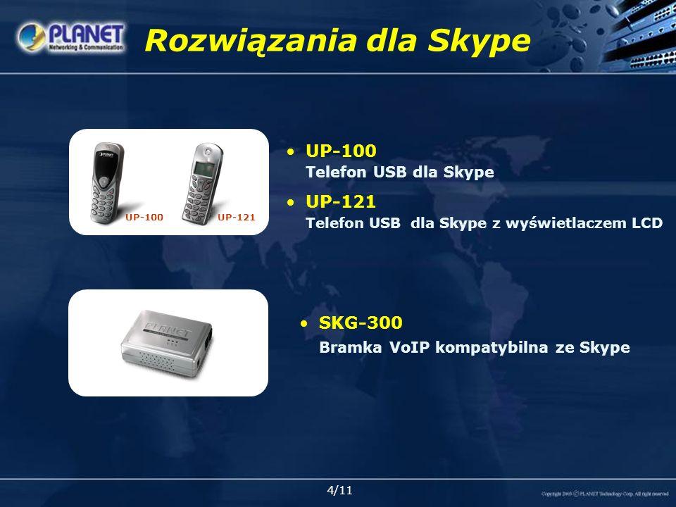 5/11 Funkcje UP-100/121 Telefon USB Zgodny z interfejsem USB HID, wbudowana karta dźwiękowa 16-bit Kompatybilny z systemami Windows 98 SE/Me, 2000/ XP lub nowszymi Zgodny ze Skype / X-PRO / MSN Messenger / Net2Phone Graficzny wyświetlacz LCD (UP-121) Pobieranie listy kontaktów/historii (UP-121) System głośnomówiący Full-duplex (UP-121) Wybieranie dźwięku dzwonka (UP-121) Nie wymaga zewnętrznego zasilania/sterowników Ustawianie głośności UP-100UP-121
