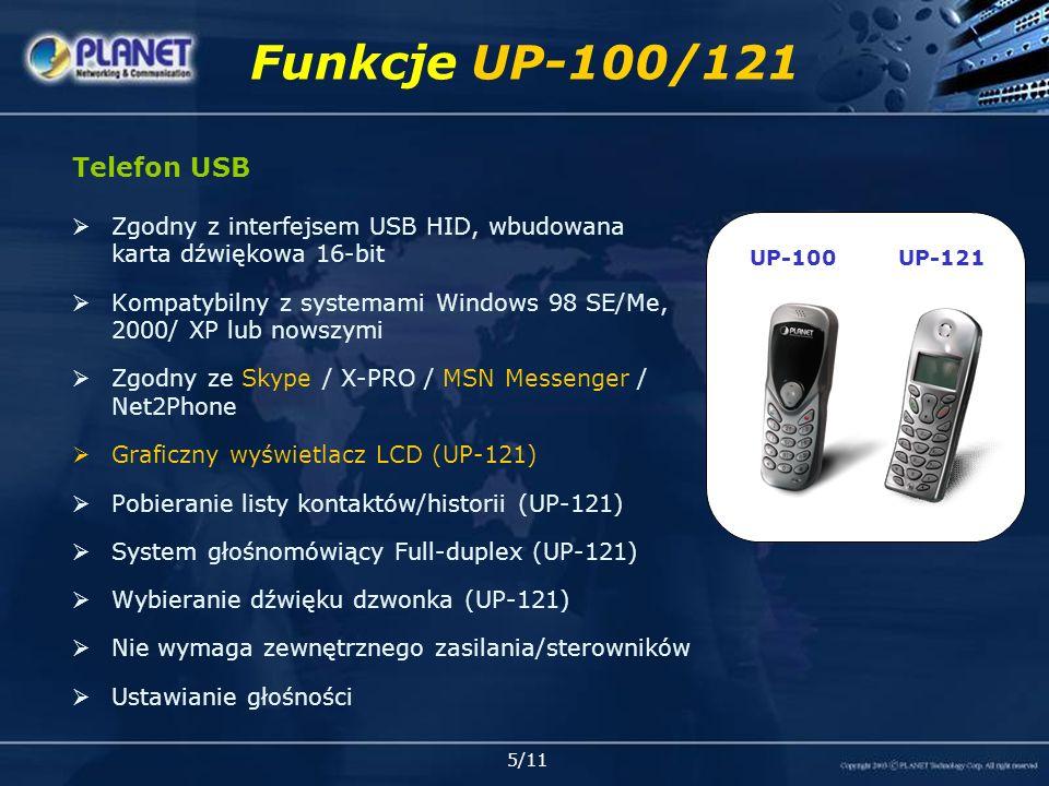 6/11 Przeznaczenie UP-100/121 UP-121 Skype PC Softphone PC Typowe połączenia Skype Skype out Dodatkowe usługi Również MSN, Dialpad, Net2Phone,… Skype PC UP-121 P.
