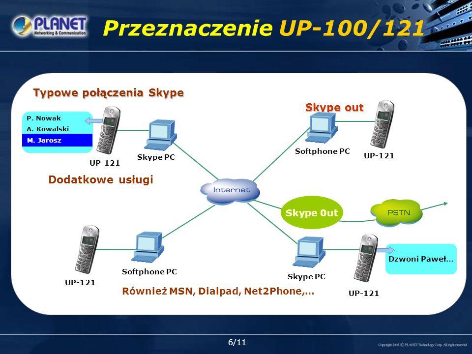 7/11 Bramka USB VoIP Jedna słuchawka dla połączeń PSTN oraz internetowych Niższe ceny połączeń na standardowe numery Współpraca z większością komunikatorów takich jak Skype, MSN, Xten, Deltathree i inne Łatwe podłączenie i korzystanie ze zwykłych aparatów dla połączeń internetowych Automatyczna detekcja oraz przełączania przychodzących rozmów PSTN lub VoIP Trójstronna konferencja pomiędzy połączeniami PSTN oraz VoIP Zgodność z analogowymi aparatami POTS, DECT lub innymi bezprzewodowymi Full-duplex oraz eliminacja echa Zgodny ze standardami VoIP (SIP, H.323) oraz innymi Panel z prawej strony RJ-11 USB Funkcje SKG-300 SKG-300