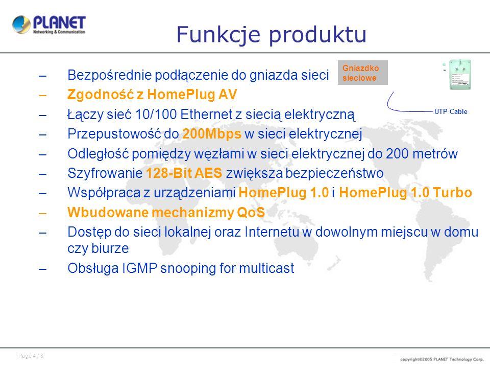 Page 4 / 8 Funkcje produktu –Bezpośrednie podłączenie do gniazda sieci –Zgodność z HomePlug AV –Łączy sieć 10/100 Ethernet z siecią elektryczną –Przep