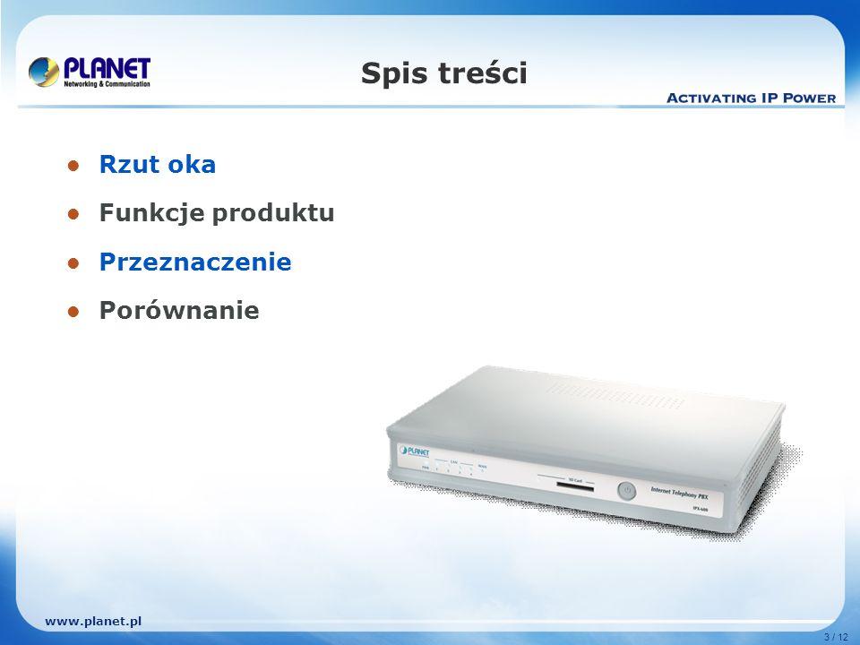 www.planet.pl 3 / 12 Spis treści Rzut oka Funkcje produktu Przeznaczenie Porównanie