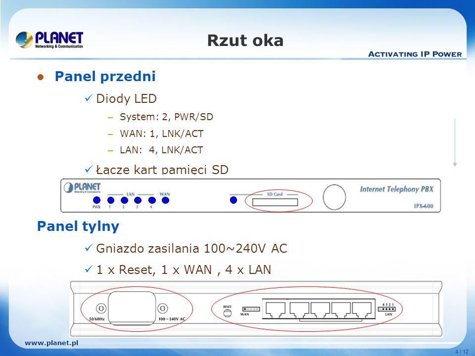 www.planet.pl 4 / 12 Rzut oka Panel przedni Diody LED – System: 2, PWR/SD – WAN: 1, LNK/ACT – LAN: 4, LNK/ACT Łącze kart pamięci SD Panel tylny Gniazd