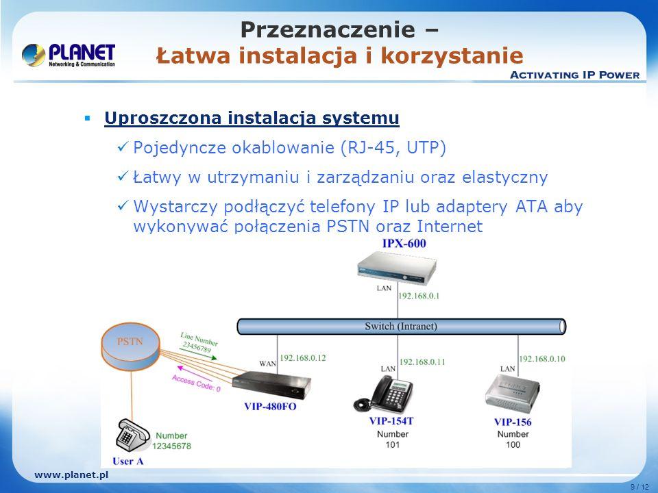 www.planet.pl 9 / 12 Uproszczona instalacja systemu Pojedyncze okablowanie (RJ-45, UTP) Łatwy w utrzymaniu i zarządzaniu oraz elastyczny Wystarczy pod
