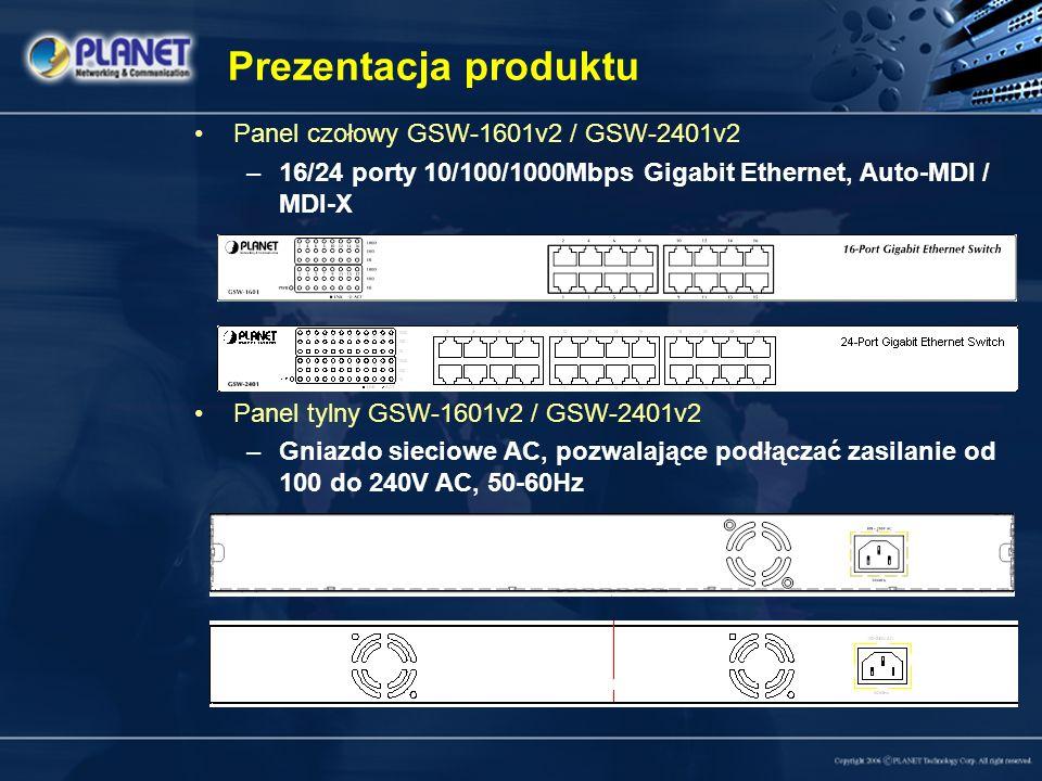 Prezentacja produktu Panel czołowy GSW-1601v2 / GSW-2401v2 –16/24 porty 10/100/1000Mbps Gigabit Ethernet, Auto-MDI / MDI-X Panel tylny GSW-1601v2 / GSW-2401v2 –Gniazdo sieciowe AC, pozwalające podłączać zasilanie od 100 do 240V AC, 50-60Hz