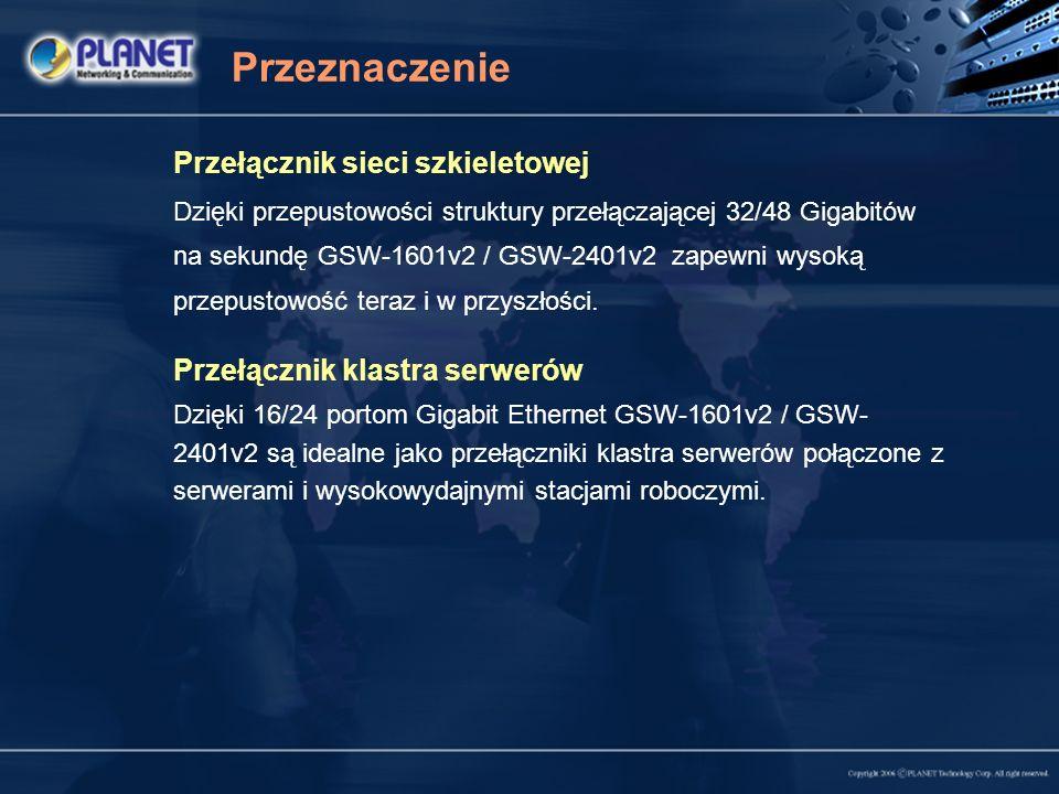 Przeznaczenie Przełącznik sieci szkieletowej Dzięki przepustowości struktury przełączającej 32/48 Gigabitów na sekundę GSW-1601v2 / GSW-2401v2 zapewni wysoką przepustowość teraz i w przyszłości.
