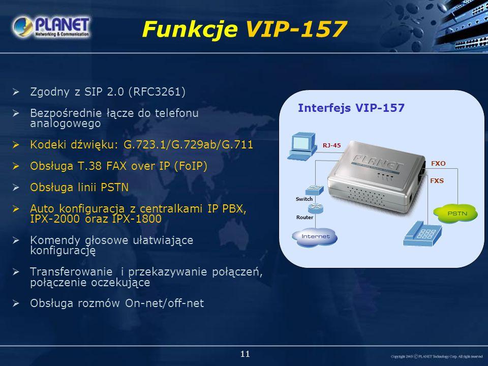 11 Zgodny z SIP 2.0 (RFC3261) Bezpośrednie łącze do telefonu analogowego Kodeki dźwięku: G.723.1/G.729ab/G.711 Obsługa T.38 FAX over IP (FoIP) Obsługa linii PSTN Auto konfiguracja z centralkami IP PBX, IPX-2000 oraz IPX-1800 Komendy głosowe ułatwiające konfigurację Transferowanie i przekazywanie połączeń, połączenie oczekujące Obsługa rozmów On-net/off-net Funkcje VIP-157 VIP-157 (1 FXS + 1 FXO) Interfejs VIP-157 FXS FXO RJ-45 Router Switch