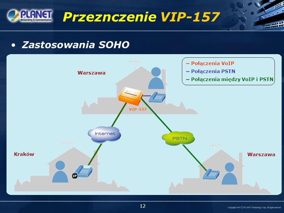 12 Przeznczenie VIP-157 Połączenia VoIP Połączenia PSTN Połączenia między VoIP i PSTN Zastosowania SOHO VIP-157 Warszawa Kraków Warszawa