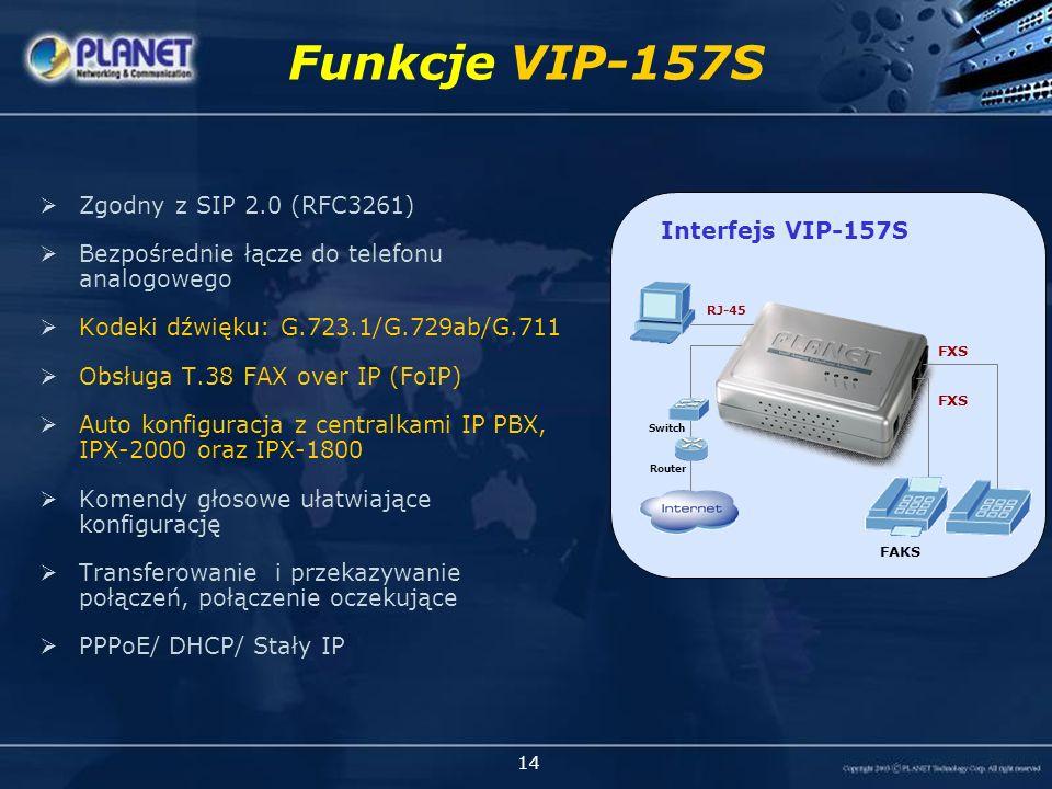 14 Zgodny z SIP 2.0 (RFC3261) Bezpośrednie łącze do telefonu analogowego Kodeki dźwięku: G.723.1/G.729ab/G.711 Obsługa T.38 FAX over IP (FoIP) Auto konfiguracja z centralkami IP PBX, IPX-2000 oraz IPX-1800 Komendy głosowe ułatwiające konfigurację Transferowanie i przekazywanie połączeń, połączenie oczekujące PPPoE/ DHCP/ Stały IP Funkcje VIP-157S VIP-157S (2 FXS) Interfejs VIP-157S FXS FAKS RJ-45 Router Switch