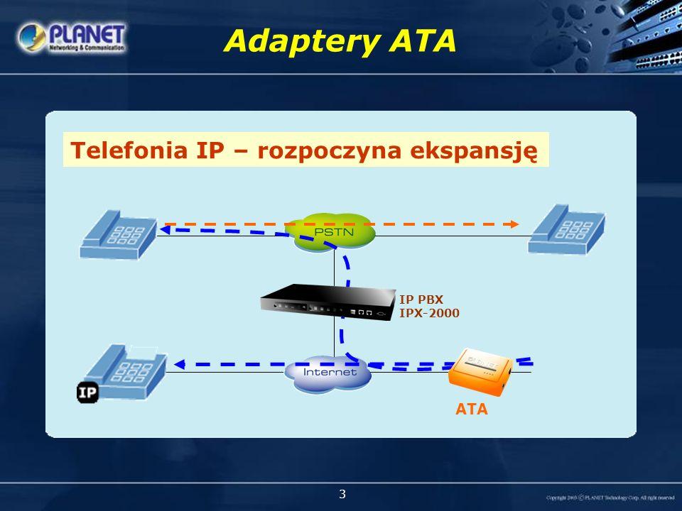 3 Adaptery ATA Tradycyjne systemy telefoniczneTelefonia IP – rozpoczyna ekspansję IP PBX IPX-2000 ATA