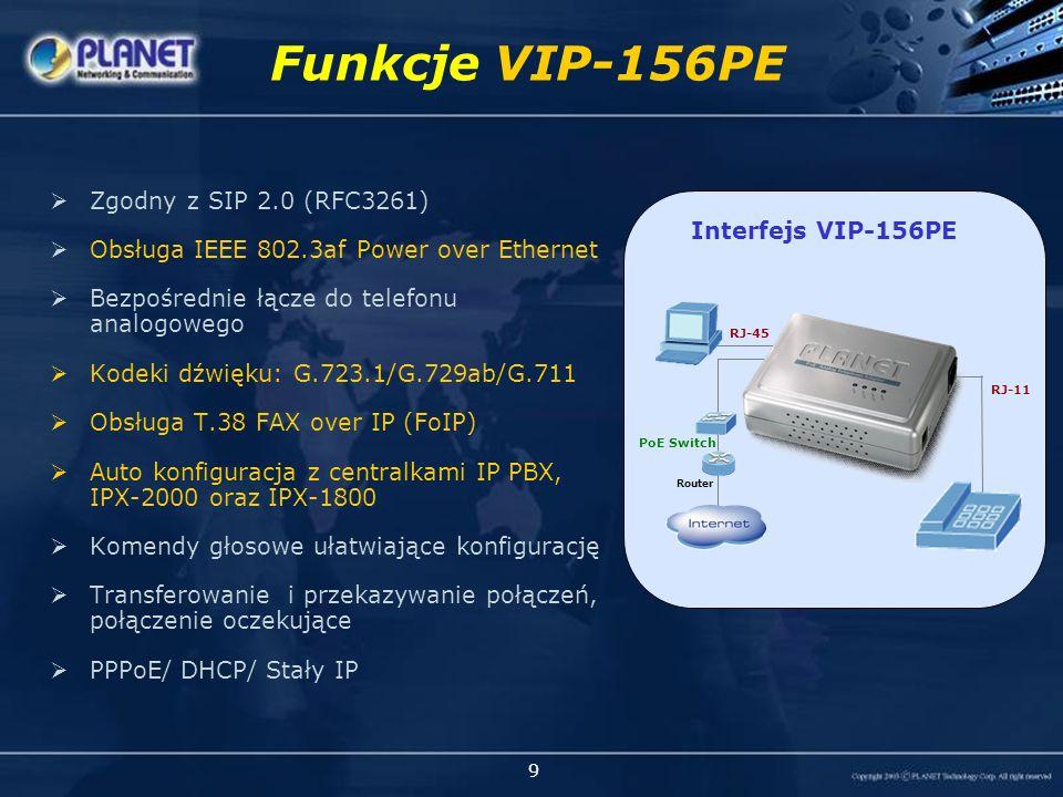 9 Zgodny z SIP 2.0 (RFC3261) Obsługa IEEE 802.3af Power over Ethernet Bezpośrednie łącze do telefonu analogowego Kodeki dźwięku: G.723.1/G.729ab/G.711 Obsługa T.38 FAX over IP (FoIP) Auto konfiguracja z centralkami IP PBX, IPX-2000 oraz IPX-1800 Komendy głosowe ułatwiające konfigurację Transferowanie i przekazywanie połączeń, połączenie oczekujące PPPoE/ DHCP/ Stały IP Funkcje VIP-156PE VIP-156PE Interfejs VIP-156PE RJ-45 Router PoE Switch RJ-11