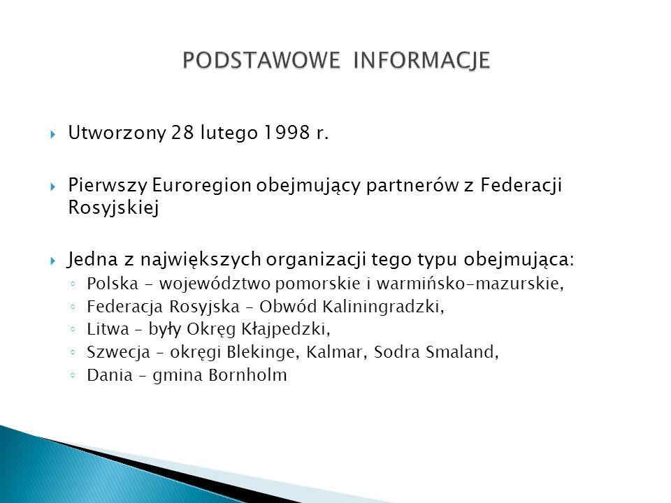 Utworzony 28 lutego 1998 r. Pierwszy Euroregion obejmujący partnerów z Federacji Rosyjskiej Jedna z największych organizacji tego typu obejmująca: Pol