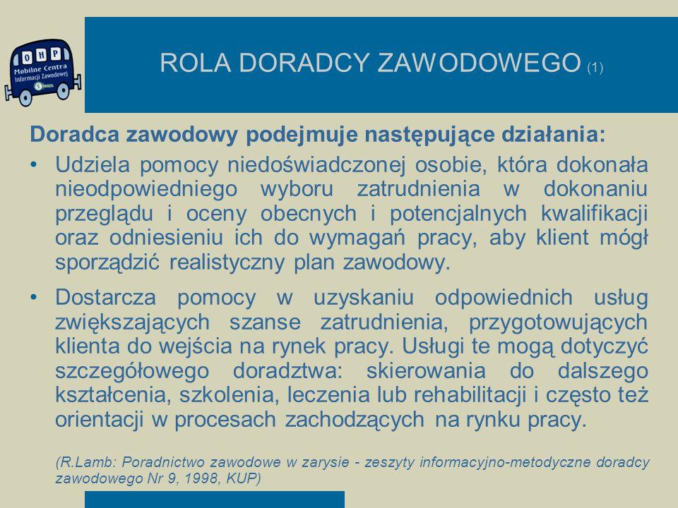 ROLA DORADCY ZAWODOWEGO (1) Doradca zawodowy podejmuje następujące działania: Udziela pomocy niedoświadczonej osobie, która dokonała nieodpowiedniego