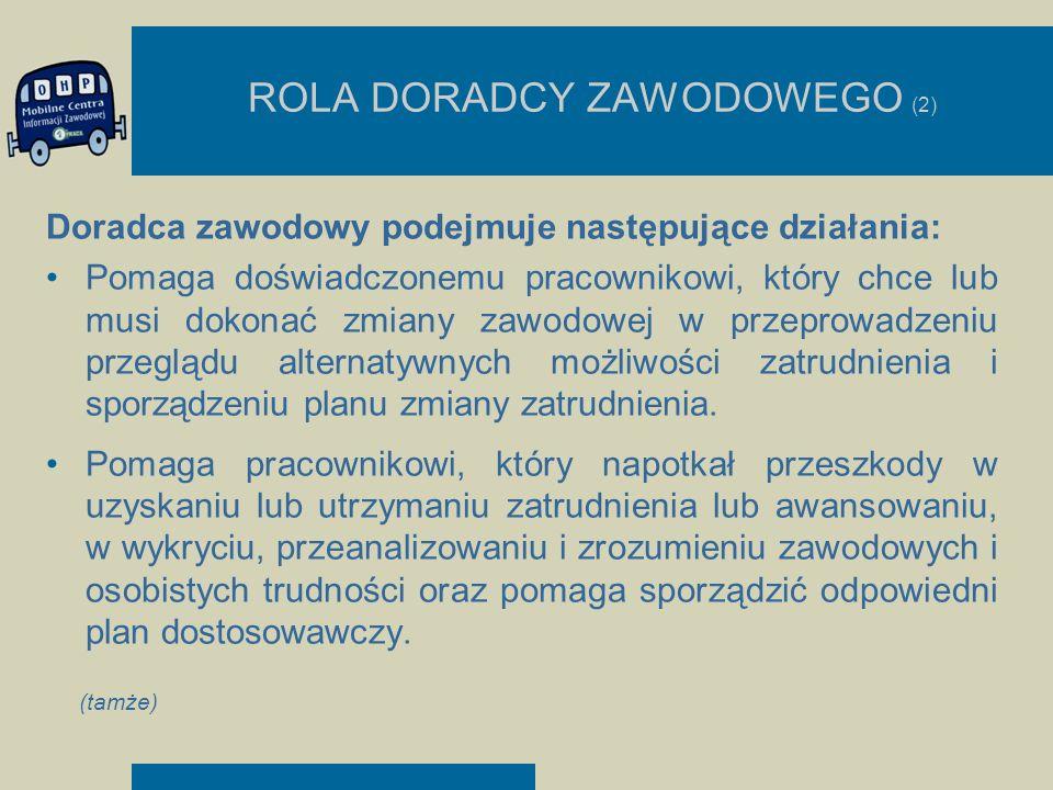 ROLA DORADCY ZAWODOWEGO (2) Doradca zawodowy podejmuje następujące działania: Pomaga doświadczonemu pracownikowi, który chce lub musi dokonać zmiany z