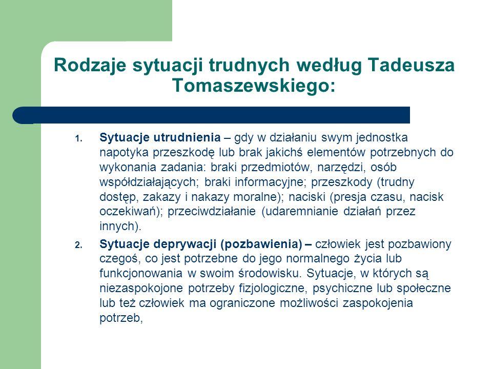 Rodzaje sytuacji trudnych według Tadeusza Tomaszewskiego: 1. Sytuacje utrudnienia – gdy w działaniu swym jednostka napotyka przeszkodę lub brak jakich