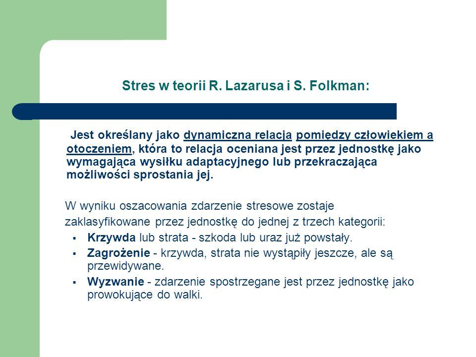 Stres w teorii R. Lazarusa i S. Folkman: Jest określany jako dynamiczna relacja pomiędzy człowiekiem a otoczeniem, która to relacja oceniana jest prze