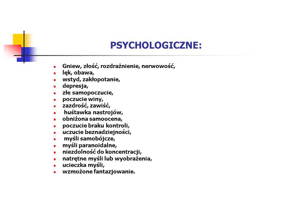 PSYCHOLOGICZNE: Gniew, złość, rozdrażnienie, nerwowość, lęk, obawa, wstyd, zakłopotanie, depresja, złe samopoczucie, poczucie winy, zazdrość, zawiść,