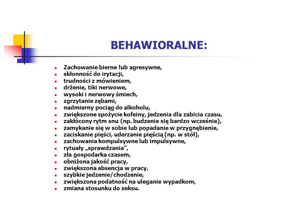 BEHAWIORALNE: Zachowanie bierne lub agresywne, skłonność do irytacji, trudności z mówieniem, drżenie, tiki nerwowe, wysoki i nerwowy śmiech, zgrzytani