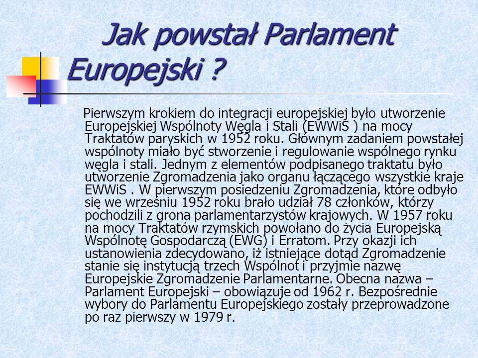 Jak powstał Parlament Europejski ? Jak powstał Parlament Europejski ? Pierwszym krokiem do integracji europejskiej było utworzenie Europejskiej Wspóln