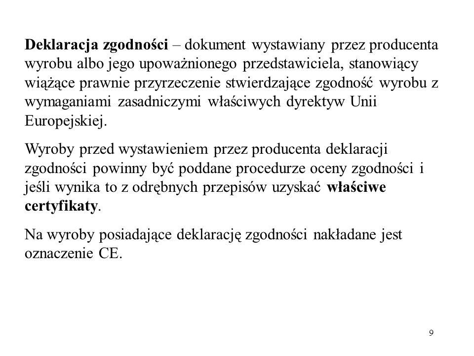 9 Deklaracja zgodności – dokument wystawiany przez producenta wyrobu albo jego upoważnionego przedstawiciela, stanowiący wiążące prawnie przyrzeczenie