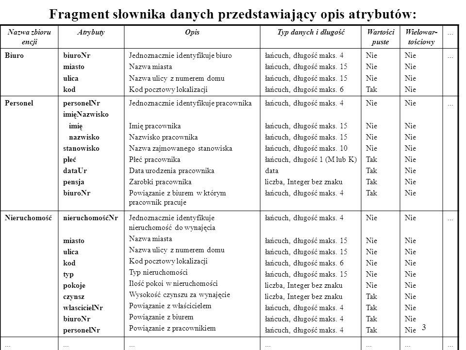 14 mysql> INSERT INTO biuro VALUES ( B003 , Mała 63 , Białystok , 15-900 ), ( B004 , Miodowa 32 , Grajewo , 19-300 ), ( B005 , Dobra 22 ,Łomża , 18-400 ), ( B006 , Słoneczna 55 , Białystok , 15-900 ), ( B007 , Akacjowa 16 , Augustów , 16-300 ); Query OK, 1 row affected (0.05 sec) mysql> SELECT * FROM biuro; +---------+---------------+------------+--------+   biuroNr   ulica   miasto   kod   +---------+---------------+------------+--------+   B001   Piękna 46   Białystok   15-900     B002   Cicha 56   Łomża   18-400     B003   Mała 63   Białystok   15-900     B004   Miodowa 32   Grajewo   19-300     B005   Dobra 22   Łomża   18-400     B006   Słoneczna 55   Białystok   15-900     B007   Akacjowa 16   August ó w   16-300   +---------+---------------+------------+--------+ 7 rows in set (0.00 sec)