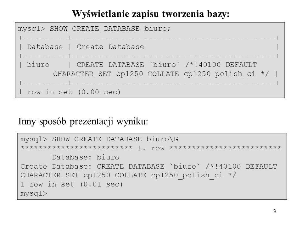 20 zapiszemy: mysql> LOAD DATA INFILE personel.txt INTO TABLE personel; lub w innej lokalizacji: mysql> LOAD DATA INFILE C:/MySQL5/bin/personel.txt INTO TABLE personel; W MySQL jako znaku separacji w ścieżce dostępu używamy / lub \\ mysql> LOAD DATA INFILE C:\\MySQL5\\bin\\ personel.txt INTO TABLE personel;